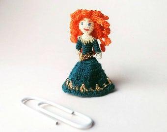 Micro amigurumi doll Disney Princess Merida. Micro crochet doll Merida. Tiny miniature. Disney Princess crochet doll. Merida from the Brave