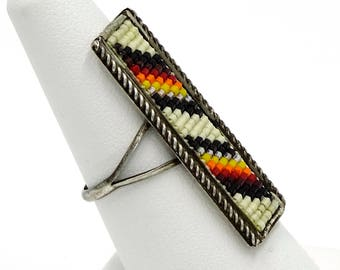 Native American Large Loomed Seed Bead Sterling Ring