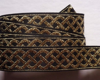 Jacquard Ribbon, 13/16 inch wide Black - Gold selling by the yard