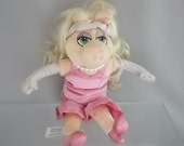 Vintage Miss Piggy Muppet Disneyland Label Famous TV Character Collectible Soft Plush Toy Pink Dress Pearls Cute Plush Named Toy.