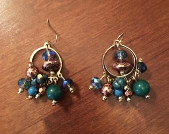 Ships Immediately Green multi stone dangle earrings
