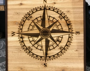 Compass Rose Wooden Wall Art