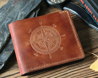 Mens wallet Mens gift Personalized gift for husband gift for father Leather wallet Dad gift Personalized wallet for him Slim wallet Compass