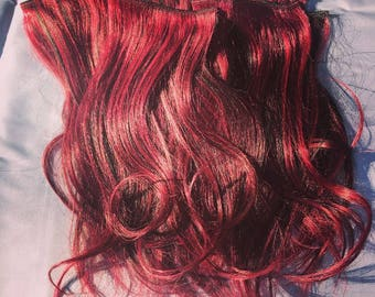 Dark Red Burgundy and black blended clip in extensions! Over 200 grams! 10 pieces/24 clips!! Free shipping within 24 hours of payment!