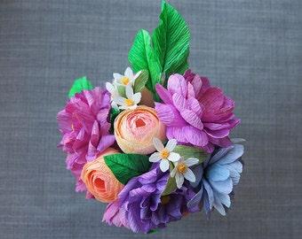Paper flower bouquet / Ramo de flores de papel