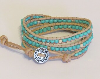 E-1710 Turquoise and silver leather wrap bracelet