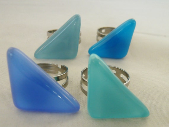 Triangular statement ring, Blue triangle adjustable steel ring,  handmade fused glass, Unique jewelry, Nickel free, does not discolour