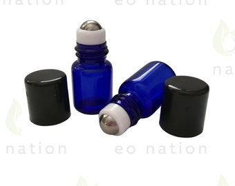 2ml Cobalt Rollerball Bottles with Stainless Steel Rollers
