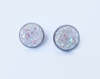 White Druzy Earrings, Faux Druzy studs, White and Pink sparkle earrings, 12mm Earring Studs, Stainless Steel Druzzies, White Druzy