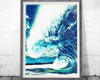 Ocean Art, Wave Print, Watercolor Print, Trending Now, Downloadable Print, Wave Art, Aqua Print, Ocean Print, Sea Art, Printable Art