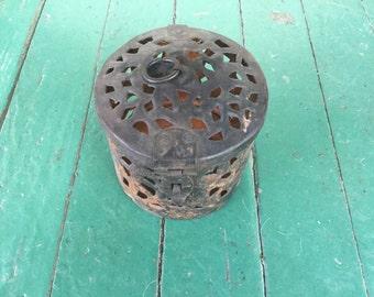 Antique Handmade Primitive  Folk Art or Tramp Art Cut Metal Lantern or Cage