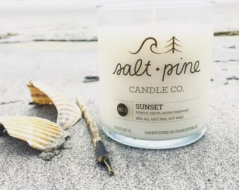 SALT + PINE | No. 2 Sunset | Scented Handmade Soy Candle in 8 oz. Jar