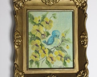Small Vintage Painting of Bluebird