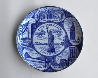 Vintage New York City Souvenir Plate Made by Lang Craft Japan
