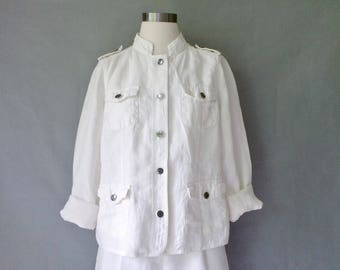 vintage linen blazer/jacket/button down blouse with standing collar/mandarin collar size S/M