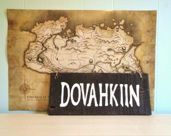 Skyrim Inspired Dovahkiin Rustic Hanging Sign//Twine//Bedroom//Elder Scrolls//Solitude//Windhelm//Stormcloak//Morrowind//Guild//Dragonborn