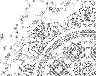 10 Mandala NEW YEAR Digital Coloring Page Happy Holidays