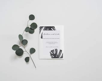 Monstera leaf wedding Invitation