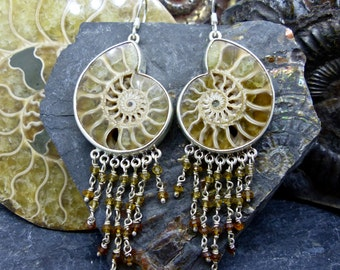 Madagascar Ammonite Fossil Earrings in 925 Sterling Silver with Brandy Faceted Tourmaline dangles (item number 7236)