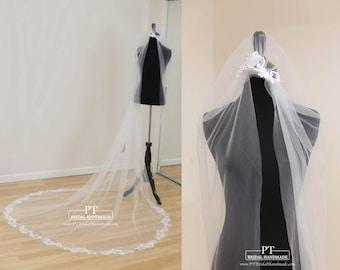 Cathedral Wedding Veil , Lace Wedding Veil, One Tier Cathedral Lace Veil, Cathedral Length Lace Veil , Cathedral Veil, Custom Veil