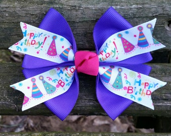 Purple Happy Birthday Hair Bow (4 inch)