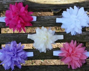 Puff flower headbands (4 inch flowers)