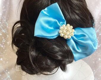 Hair clip, barrette, stylish ribbon with pearl romantic