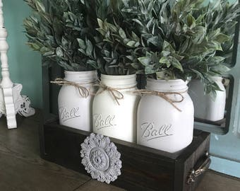 Farmhouse decor - Farmhouse table centerpiece - mason jar centerpiece - Rustic mason jar decor - mason jar decor - farmhouse table decor