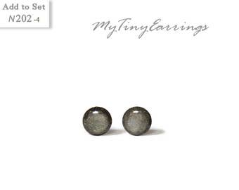 Christmas gift 4mm Dark Gray Stud Waterproof Earrings Mini Tiny Shimmery - Gold Plated Stainless Steel Posts High Quality Epoxy Resin N202-4