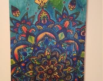 Mandala art wood panel teal orange colorful art