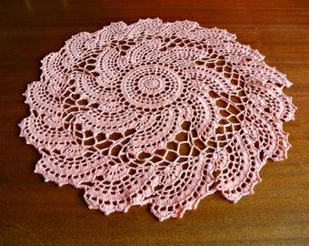 Handmade Pink Crochet Doily 'Pink Whirlpool' READY TO SHIP