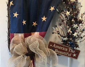 Patriotic Wreath, Americana Wreath, Fourth of July Wreath, American Flag Wreath, Veterans Day