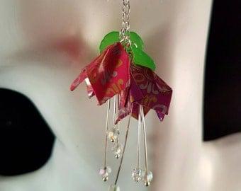 Flower earrings in pink and purple, drop flower earrings, origami earrings, bell flower earrings, flower jewellery, pink and purple earrings