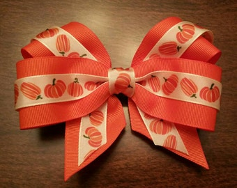 "Orange 5"" Pumpkin Bow - Halloween, Fall, Thanksgiving"