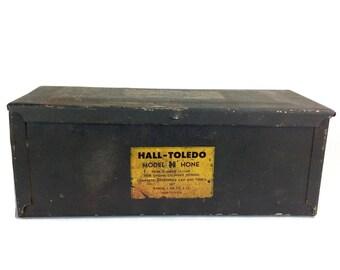 Metal Box, Storage Box, Vintage Box, Hall-Toledo, Rustic Metal Box