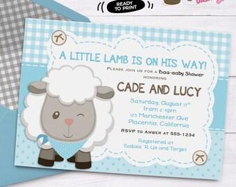 Boys Little Lamb Baby Shower Invitation Boys Sheep Baby Shower Invitation  Printable Couples Co Ed