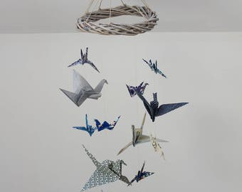 Mobile 12 cranes origami, decoration room baby boy, makes hand, gift sets, rattan deco child