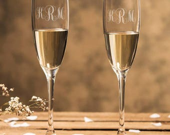 Set of 2 -Fancy Type - Monogram Champagne Flutes - Wedding Champagne Flutes - Toasting Flutes - DGI23-A11
