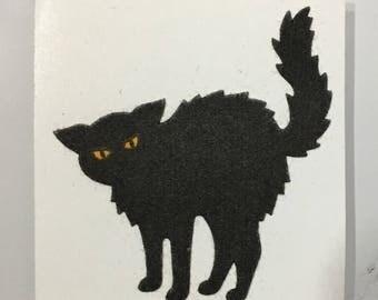 Vintage Sandylion Fuzzy Black Cat Sticker