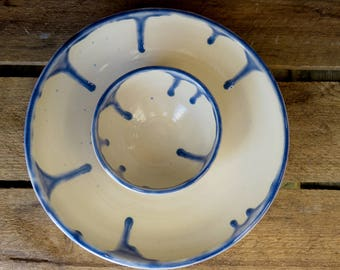 Chip and Dip Plate, Chip and Dip Serving Dish, Dip Bowl, Serving Bowl, Blue and White Bowl, Handmade Dip Bowl, Ceramic Dip Bowl, Ceramic