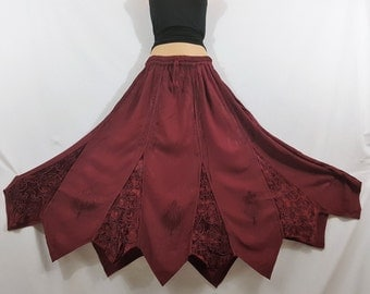 Ladies Long Gypsy Gothic Medieval Renaissance Vintage Embroidered Burgundy color Autumn/Winter Rayon Velvet Skirt Freesize 12 14 16 18 20