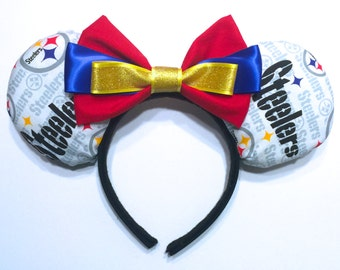 Pittsburg Steelers Inspired Minnie Mouse Ears Inspired - NFL Inspired Mouse Ears - Disney Inspired Mouse Ears - NFL Pittsburg inspired Ears