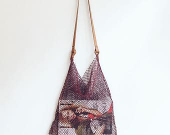 Handmade net maguey bag shopper market bag