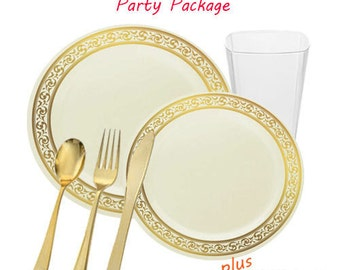 Premium GRAND Ivory and Gold Party Package for 90 Guests