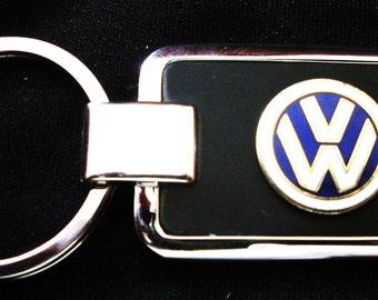 Volkswagen Black Onyx & Silver Keychain