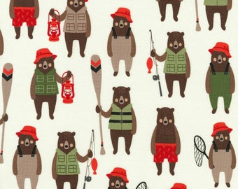 Adventure Brawny Bears by Andie Hanna for Robert Kaufman quilting cotton cream green fishing fabric material by the yard or metre