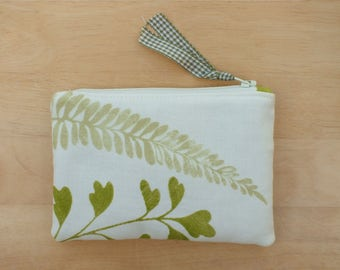 Fern Small Padded Pouch, Jewellery Zipped Purse, Fabric Make up Bag,  Small Accessory Pouch