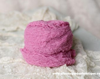 Fuschia- Pink Newborn Cheesecloth Swaddle Wrap- Photography Prop