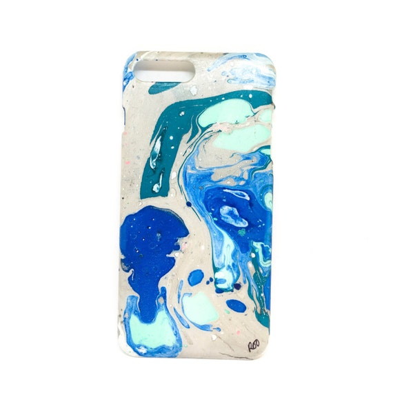 Hand marbled original artwork marble case - iPhone 7 PLUS - Aqueous Orbit in Silver & Turquoise - by Roo Bannister - Marbleous Roo