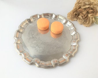 Vintage Round Silver Tray / Silver Tray / Small Silver Tray / Silver Change Tray / Vintage Silver Tray / Vintage Tray / Round Tray